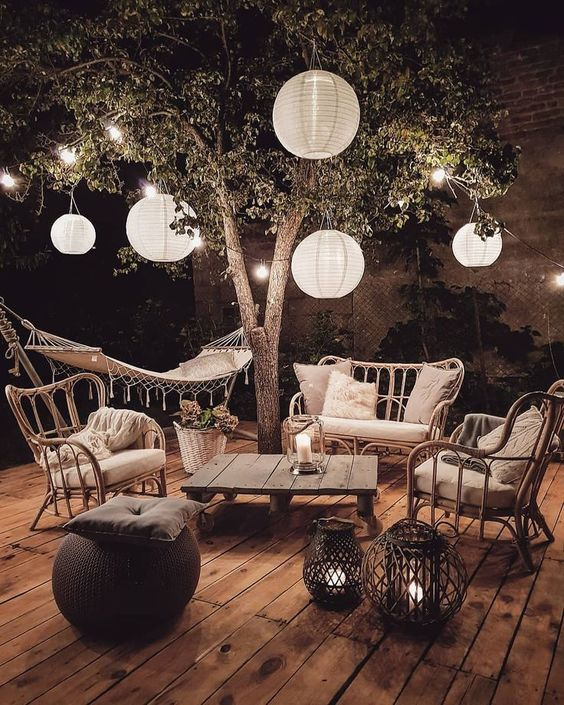 lanterns and string lights in the patio