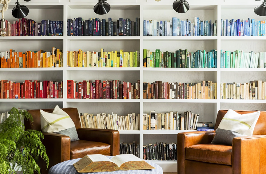 books arranged by color